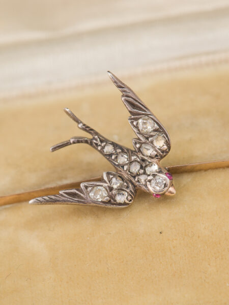 (reserved) Antique Victorian Diamond Almandine Garnet And Pearl Meaningful Swallow Brooch