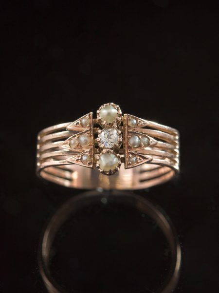 Antique Victorian Pearl And Diamond Three Stone Trilogy Ring