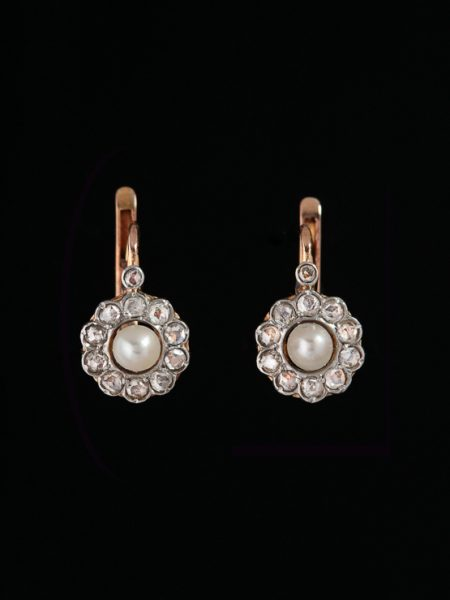 Reserved!! Antique Victorian French Natural Pearl And Diamond Flower Earrings Signed By Vaguer