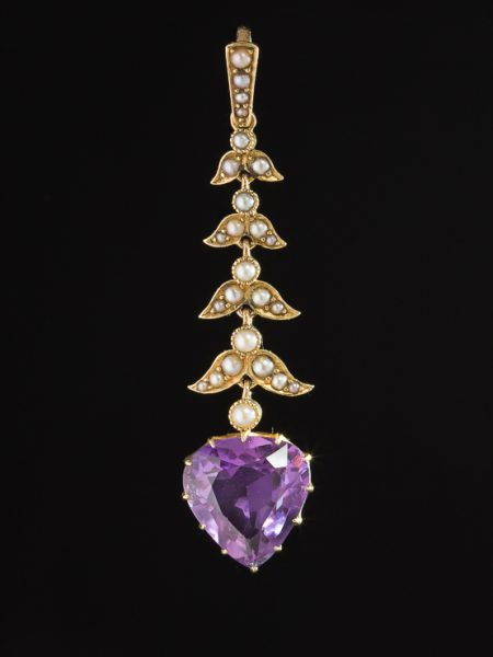 Antique Edwardian Romantic Natural Pearl And Amethyst Heart Pendant
