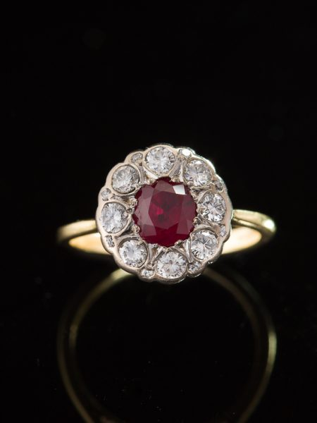 Vintage Natural Ruby And Diamond Flower Cluster Halo Ring