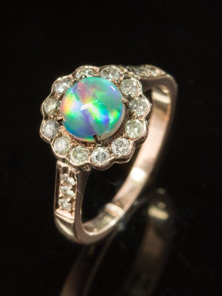 Vintage Crystal Opal And Diamond Halo Flower Cluster Ring