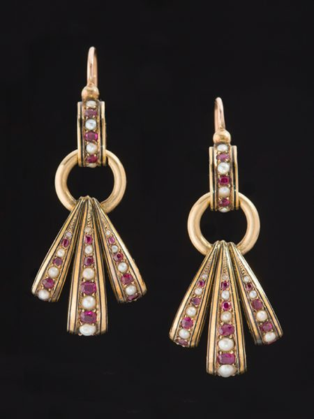Antique Victorian Striking Fan Natural Ruby And Pearl Earrings