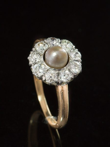 Antique Edwardian Saltwater Pearl And 1.44 Ct Diamond Flower Halo Cluster Ring