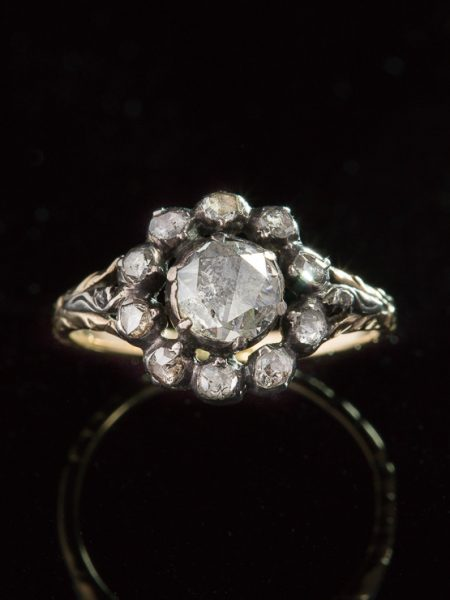 Antique Late Victorian 1.40 ct Diamond Flower Cluster Halo Ring