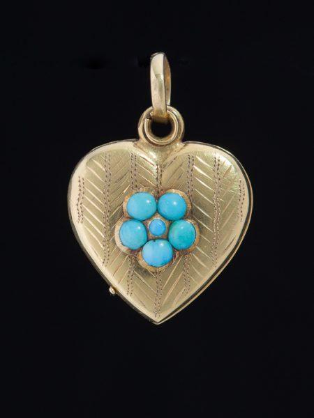 Antique Victorian Natural Turquoise Flower Sentimental Heart Locket Pendant