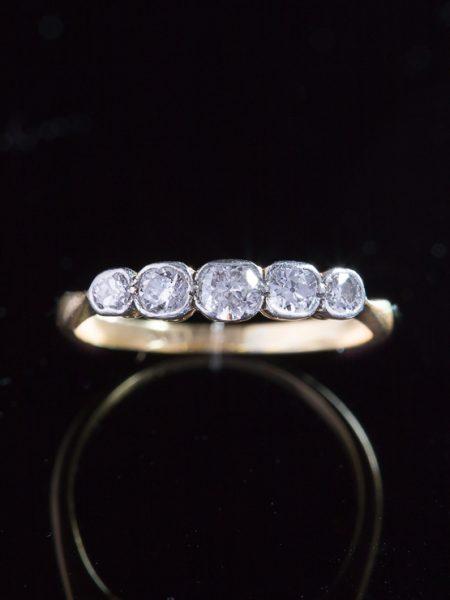 Antique Edwardian Romantic Diamond Five Stone Ring