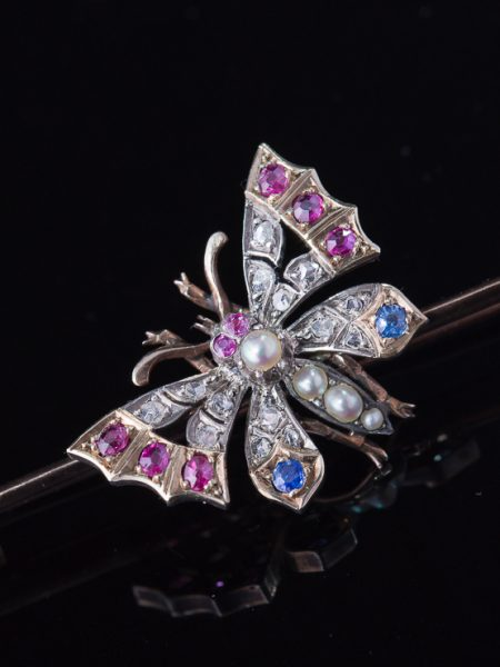 Victorian Natural Sapphire Ruby Pearl And Diamond Butterfly Brooch With Box